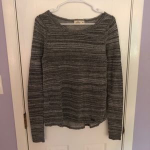 Hollister Sparkly Grey Lace Back Long Sleeve Top